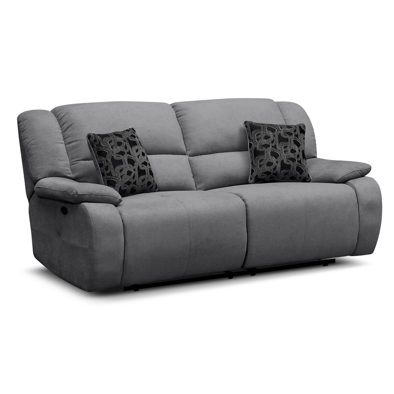Living Room Furniture - Destin Gray Power Reclining Sofa