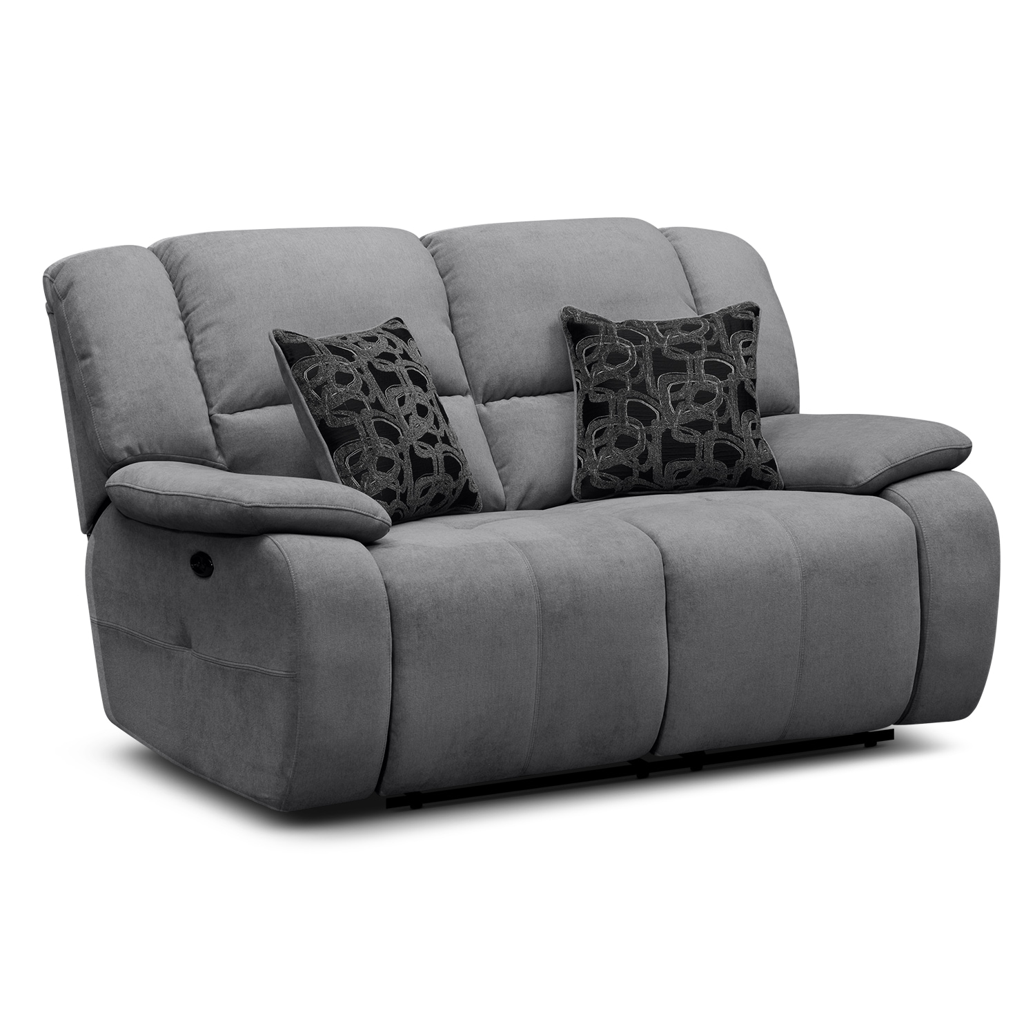 Living Room Furniture - Destin Gray Power Reclining Loveseat