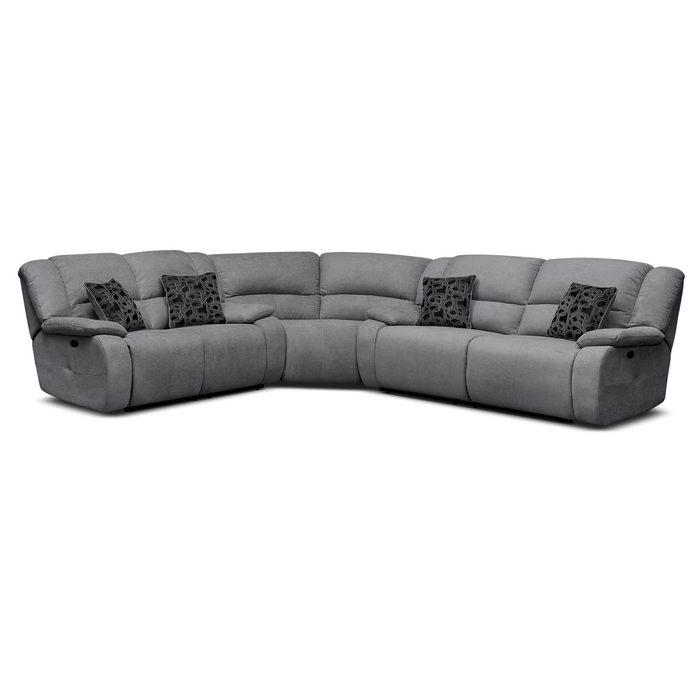 Living Room Furniture - Destin Gray II 3 Pc. Power Reclining Sectional