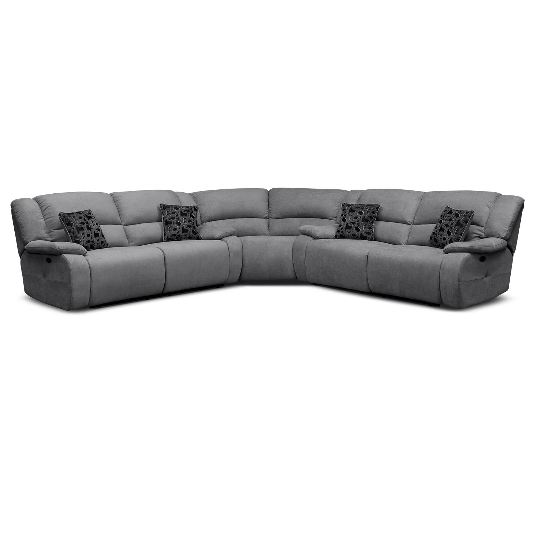 Living Room Furniture - Destin Gray II 3 Pc. Power Reclining Sectional (Alternate)