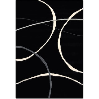 Terra Abstract 5' x 8' Area Rug - Black and White