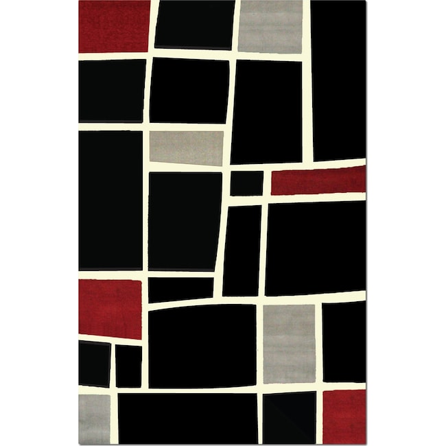 Rugs - Terra Squares 5' x 8' Area Rug - Black and Gray