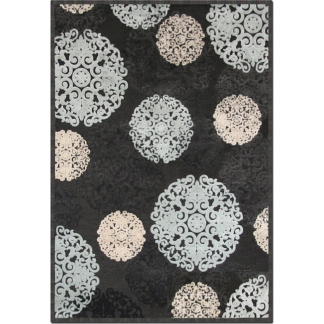 Rugs - Napa Snowflakes Area Rug - Blue and Ivory