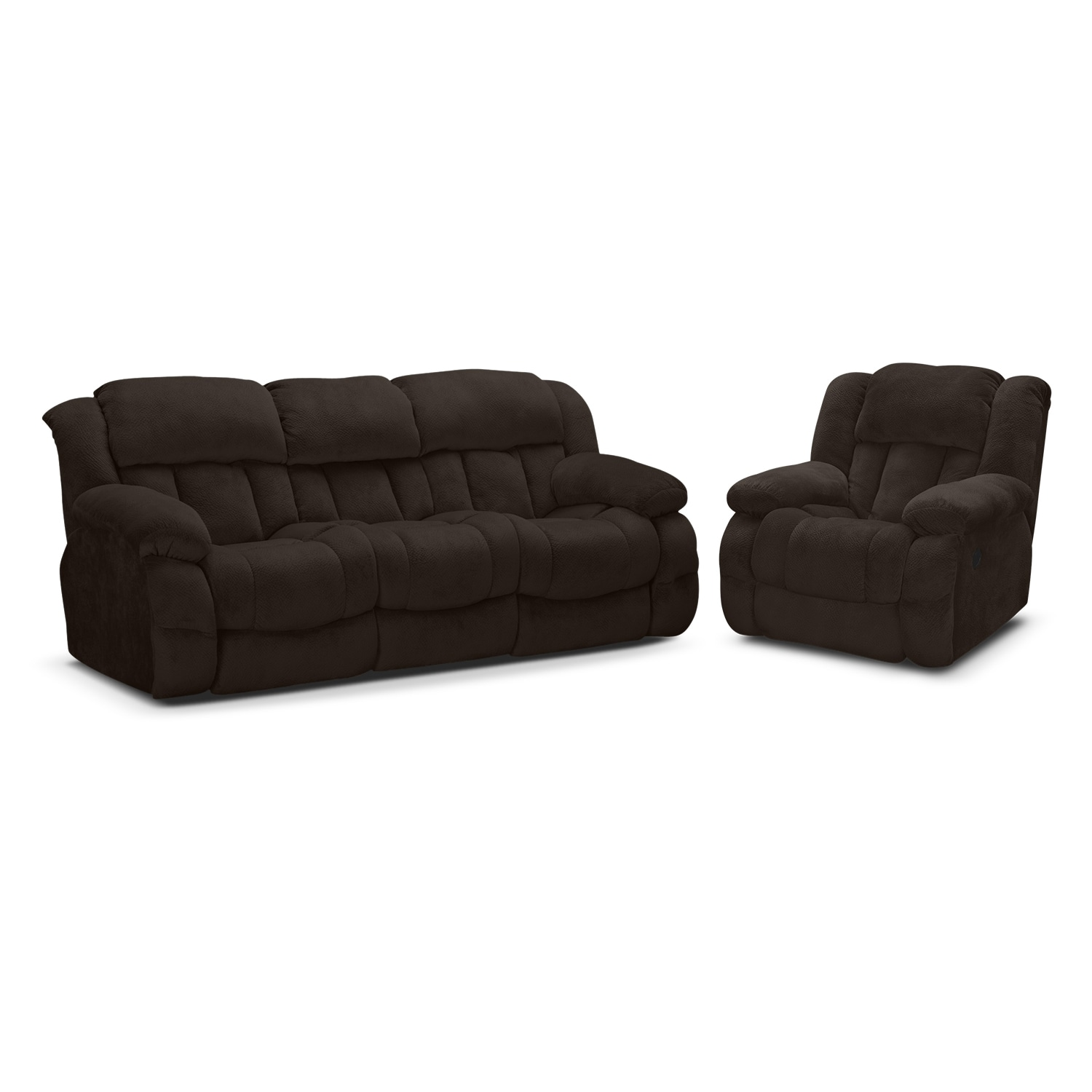 Park City Dual Reclining Sofa and Glider Recliner Set - Chocolate