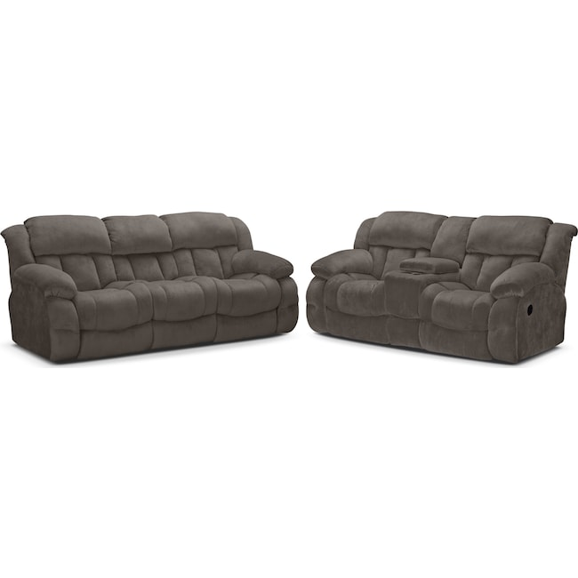 Living Room Furniture - Park City Dual Reclining Sofa and Loveseat Set - Gray