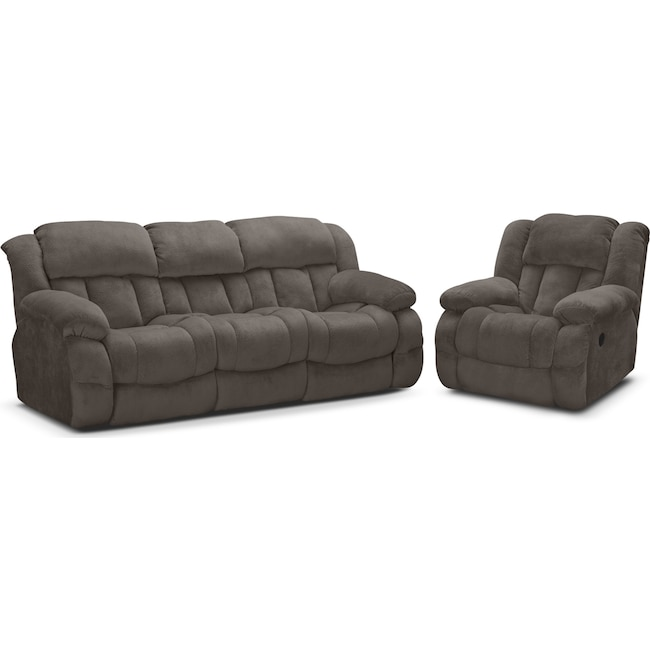 Living Room Furniture - Park City Dual Reclining Sofa and Glider Recliner Set - Gray