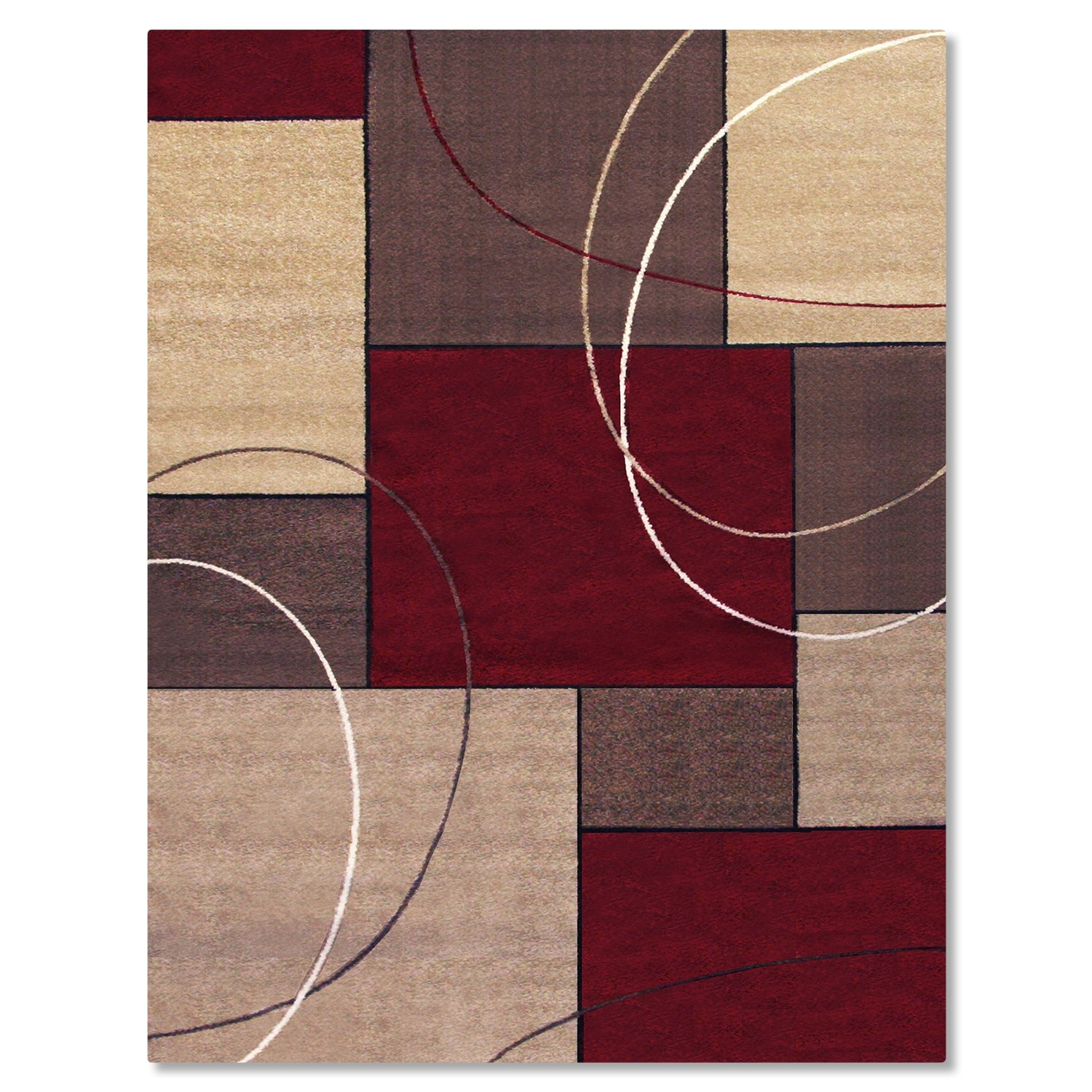 Rugs - Casa Circles and Squares 5' x 8' Area Rug - Brown and Beige