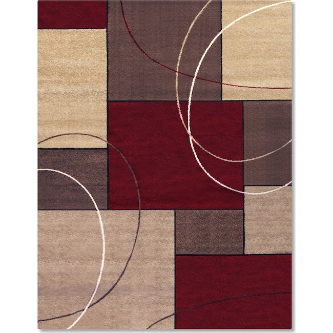 Rugs - Casa Circles and Squares 8' x 10' Area Rug - Brown and Beige