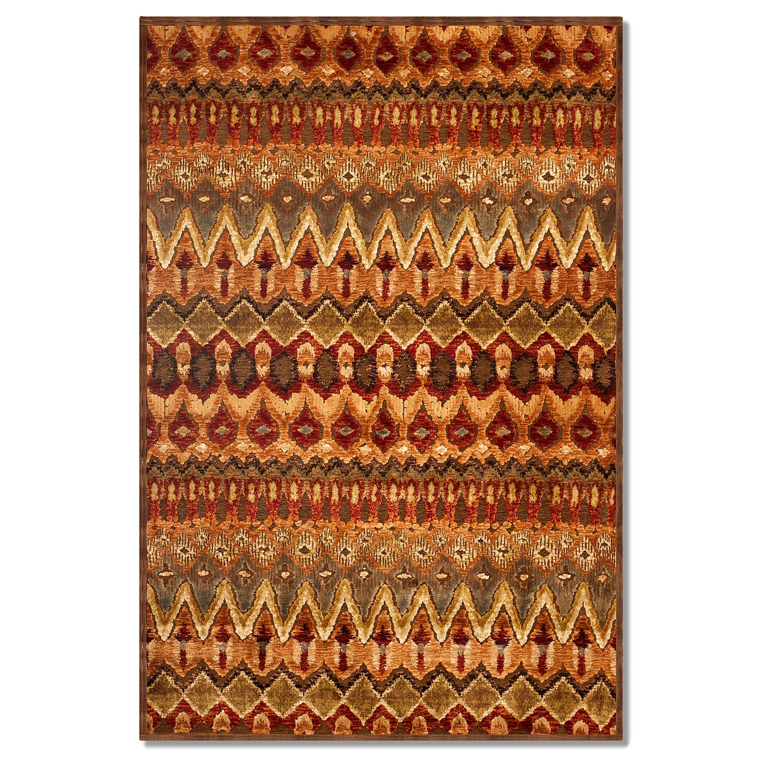 Rugs - Napa Zigzag Area Rug - Red and Beige