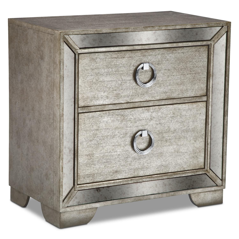 Bedroom Furniture - Angelina Nightstand - Metallic