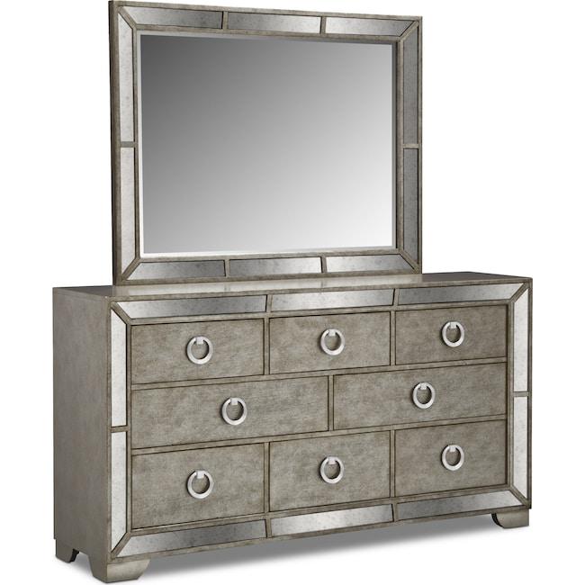 Bedroom Furniture - Angelina Dresser and Mirror - Metallic