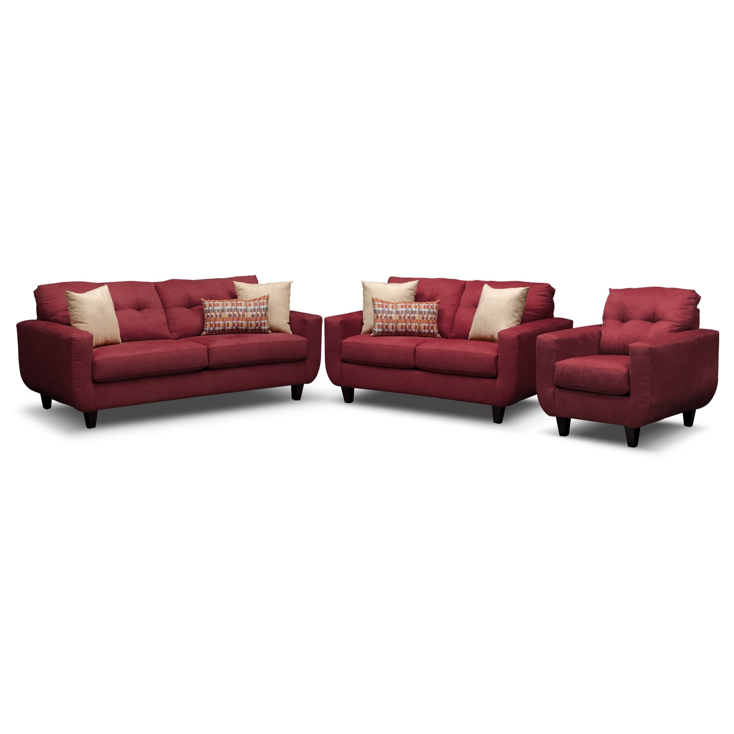 West Village Sofa, Loveseat and Chair - Red