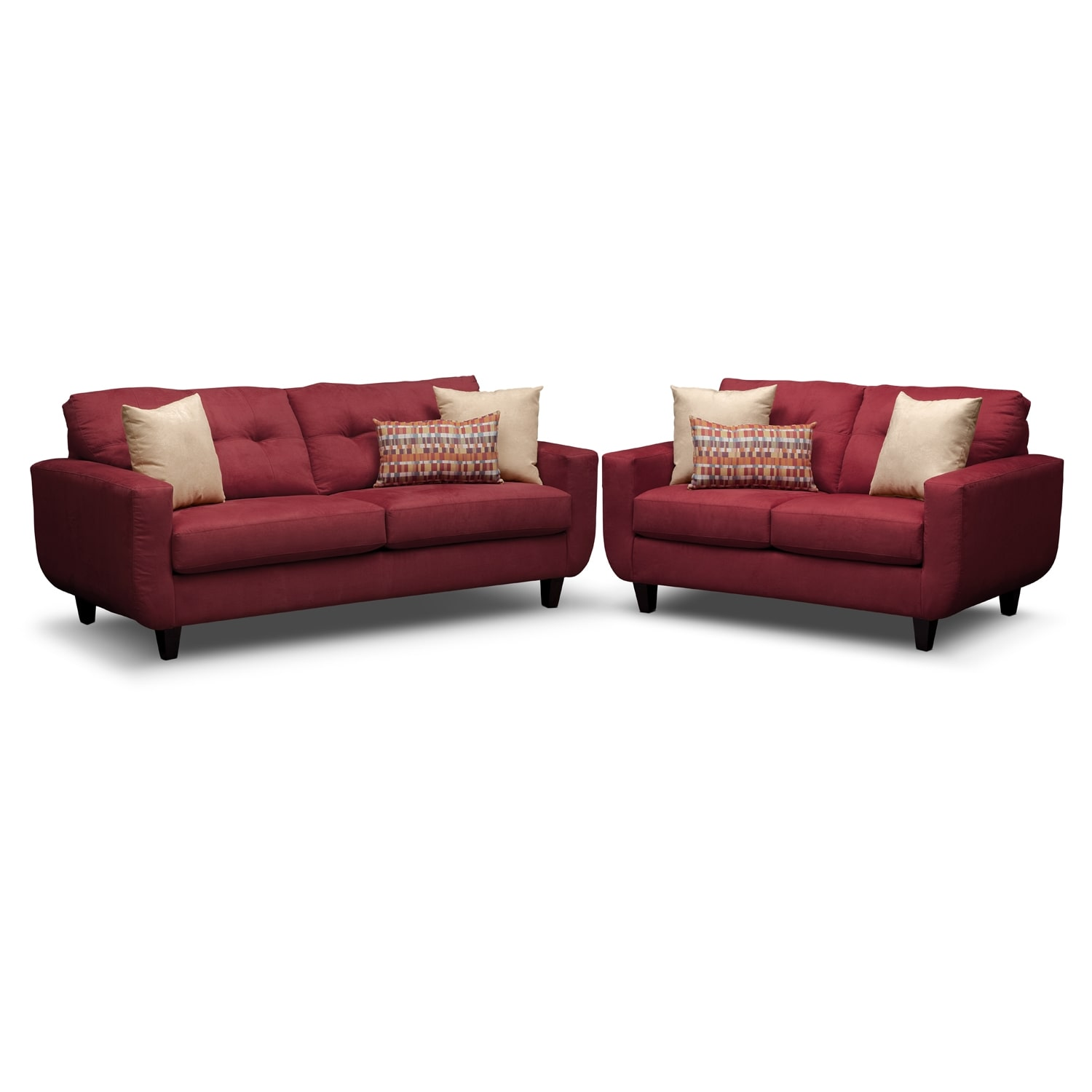 West Village Sofa and Loveseat Set - Red
