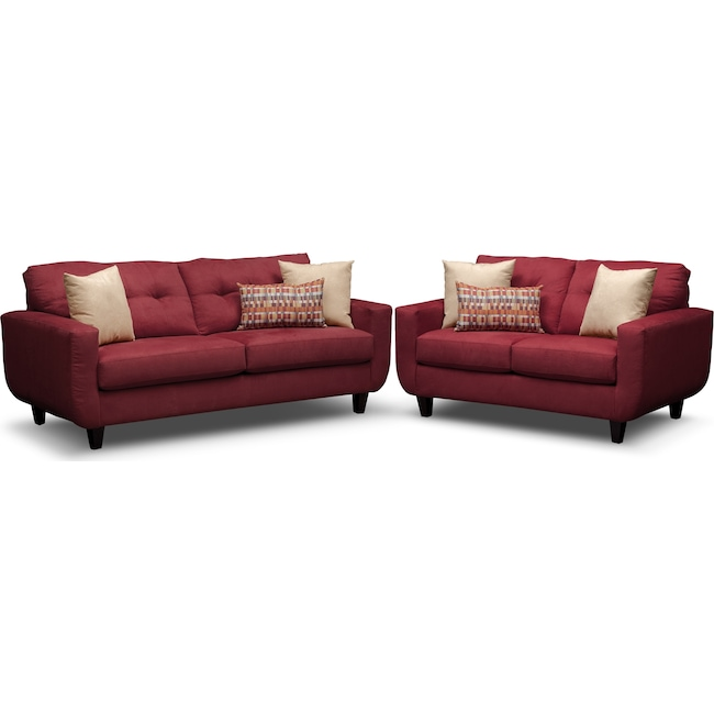 Living Room Furniture - West Village Sofa and Loveseat Set - Red