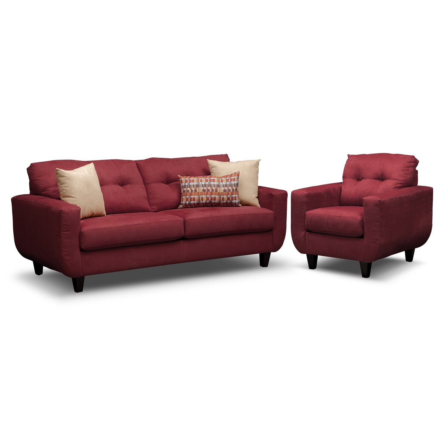 Living Room Furniture - West Village Sofa and Chair Set - Red