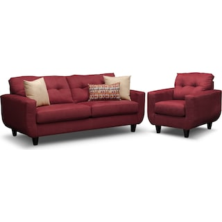 West Village Sofa and Chair Set - Red