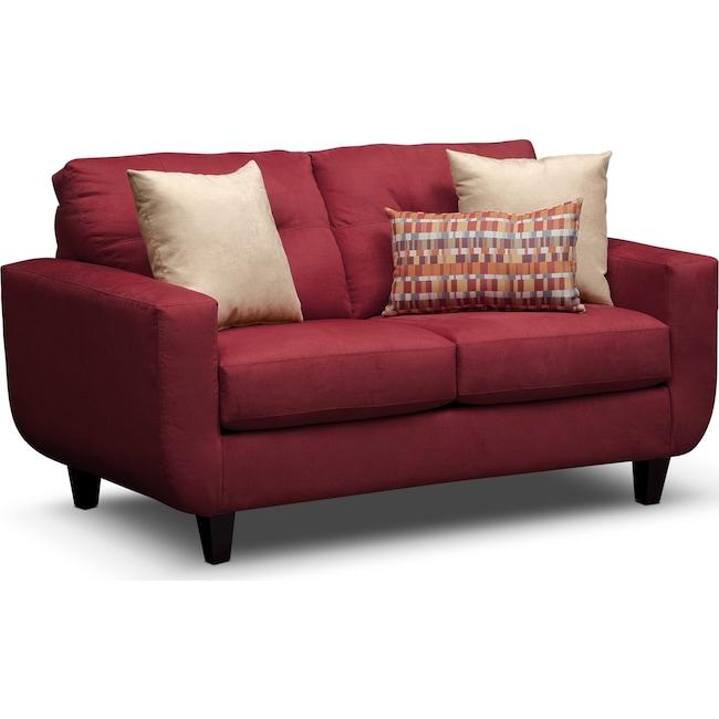 Living Room Furniture - West Village Loveseat - Red