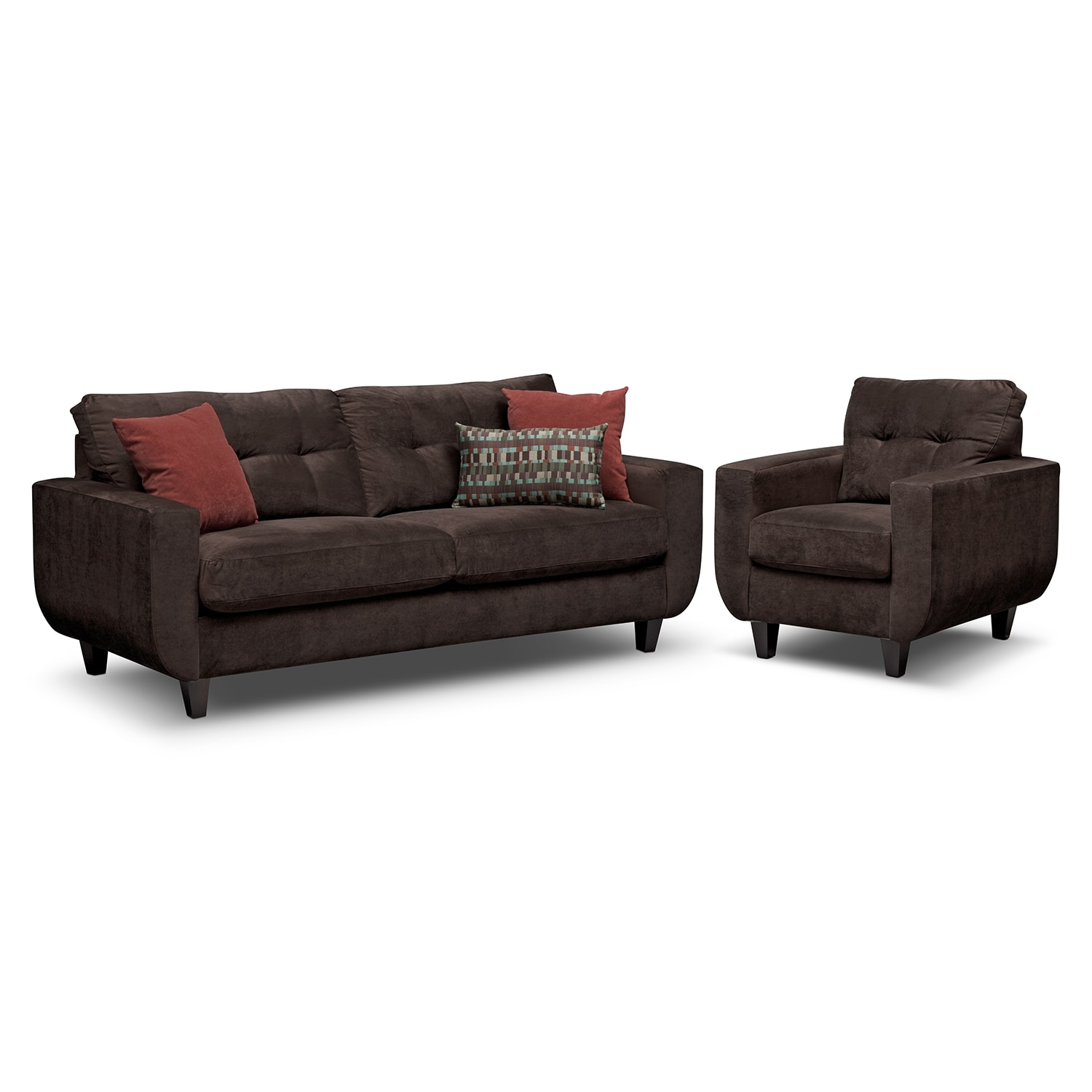 West Village Sofa and Chair Set - Chocolate