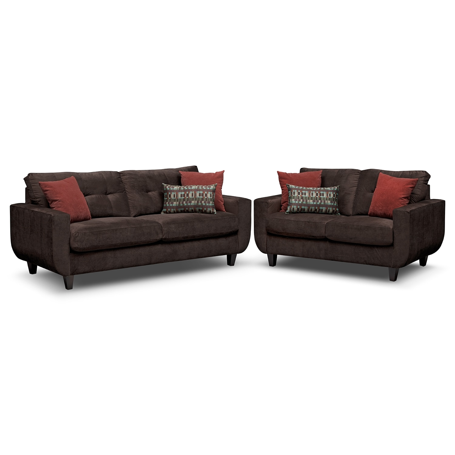 Living Room Furniture - West Village Sofa and Loveseat Set - Chocolate