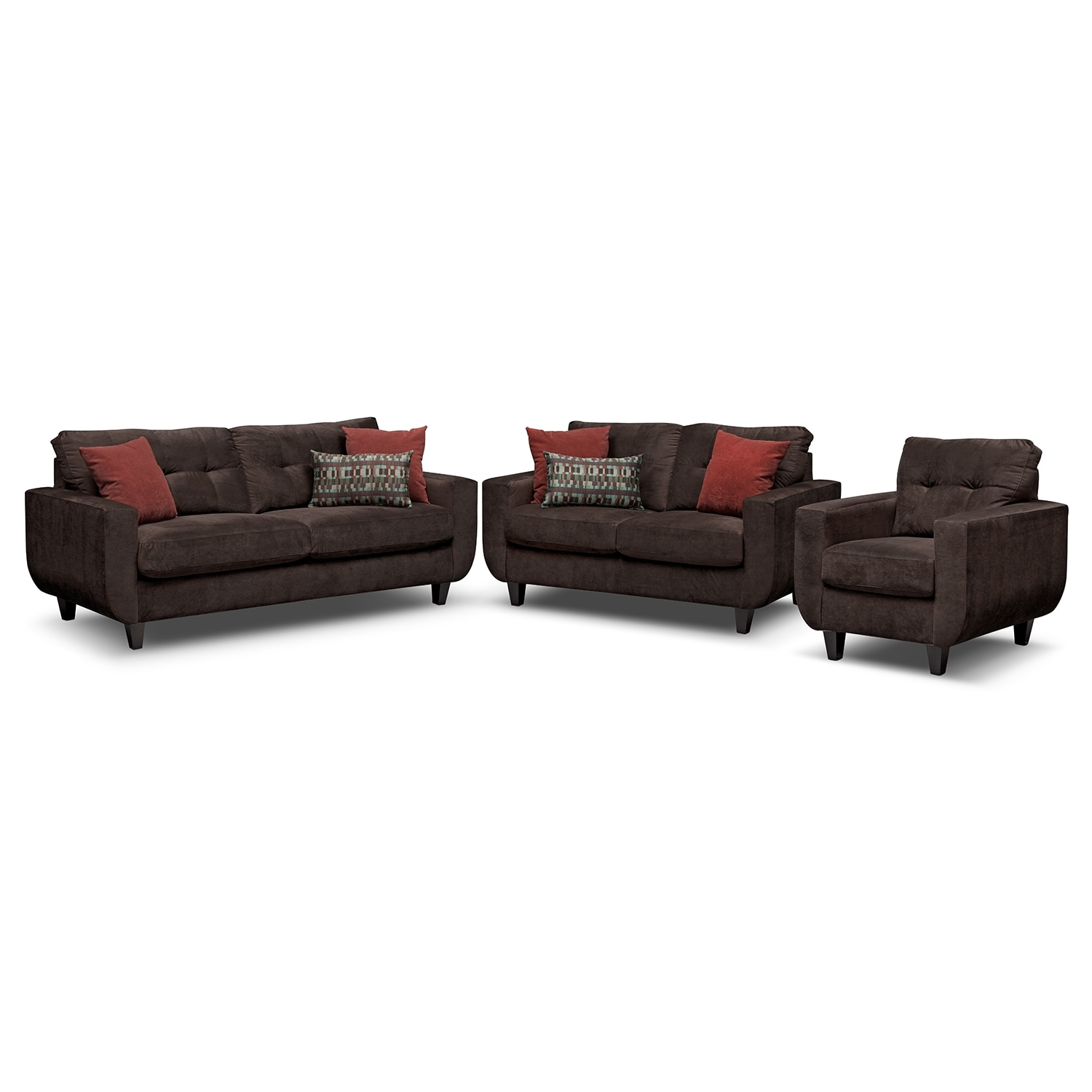 West Village Sofa, Loveseat and Chair Set - Chocolate