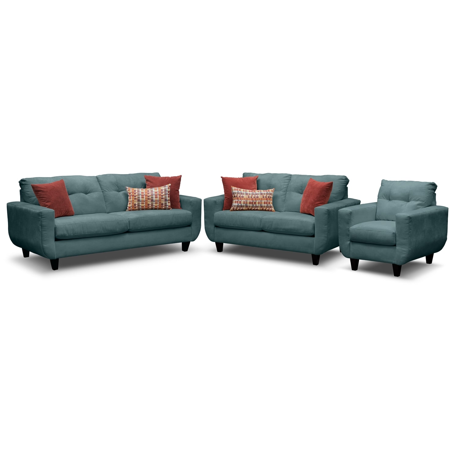 Living Room Furniture - West Village Sofa, Loveseat and Chair Set - Blue