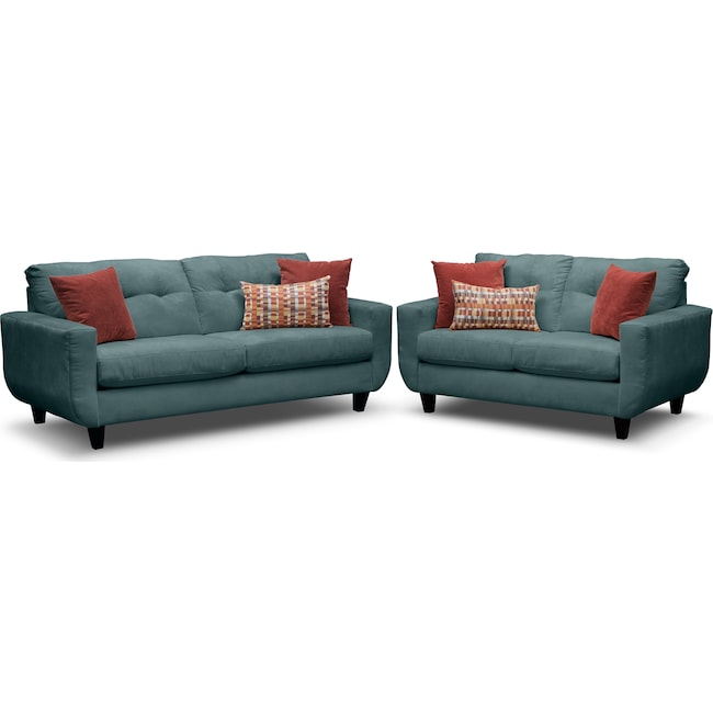 Living Room Furniture - West Village Sofa and Loveseat Set - Blue
