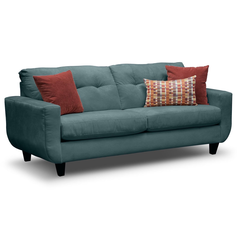 West Village Sofa And Loveseat Set Blue American Signature Furniture
