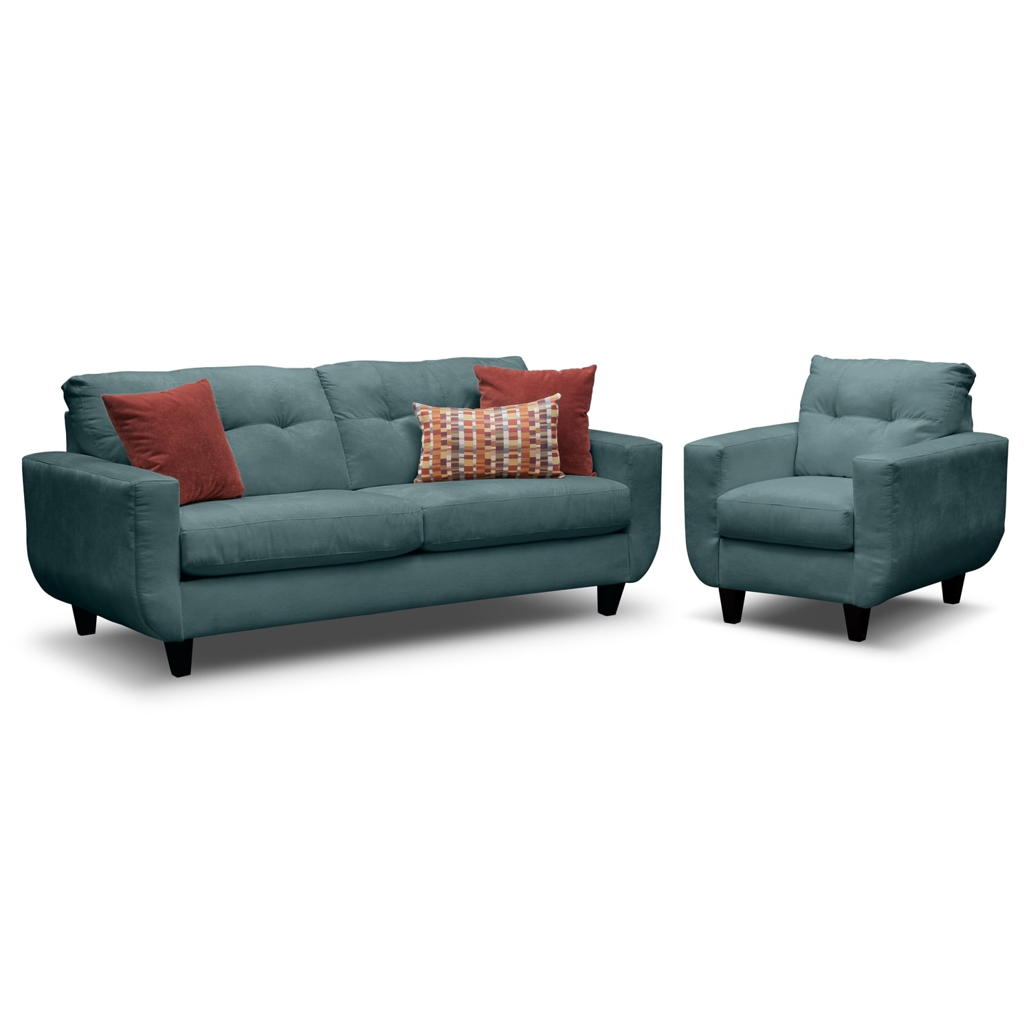 Living Room Furniture - West Village Sofa and Chair Set - Blue