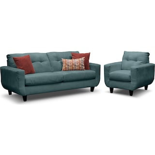 West Village Sofa and Chair Set - Blue