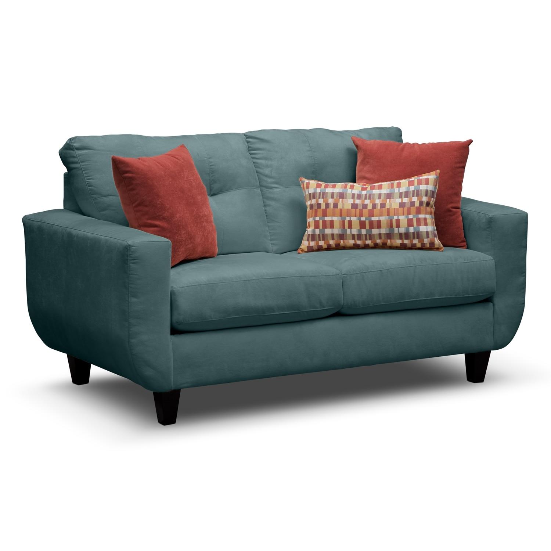 Living Room Furniture - West Village Blue Loveseat