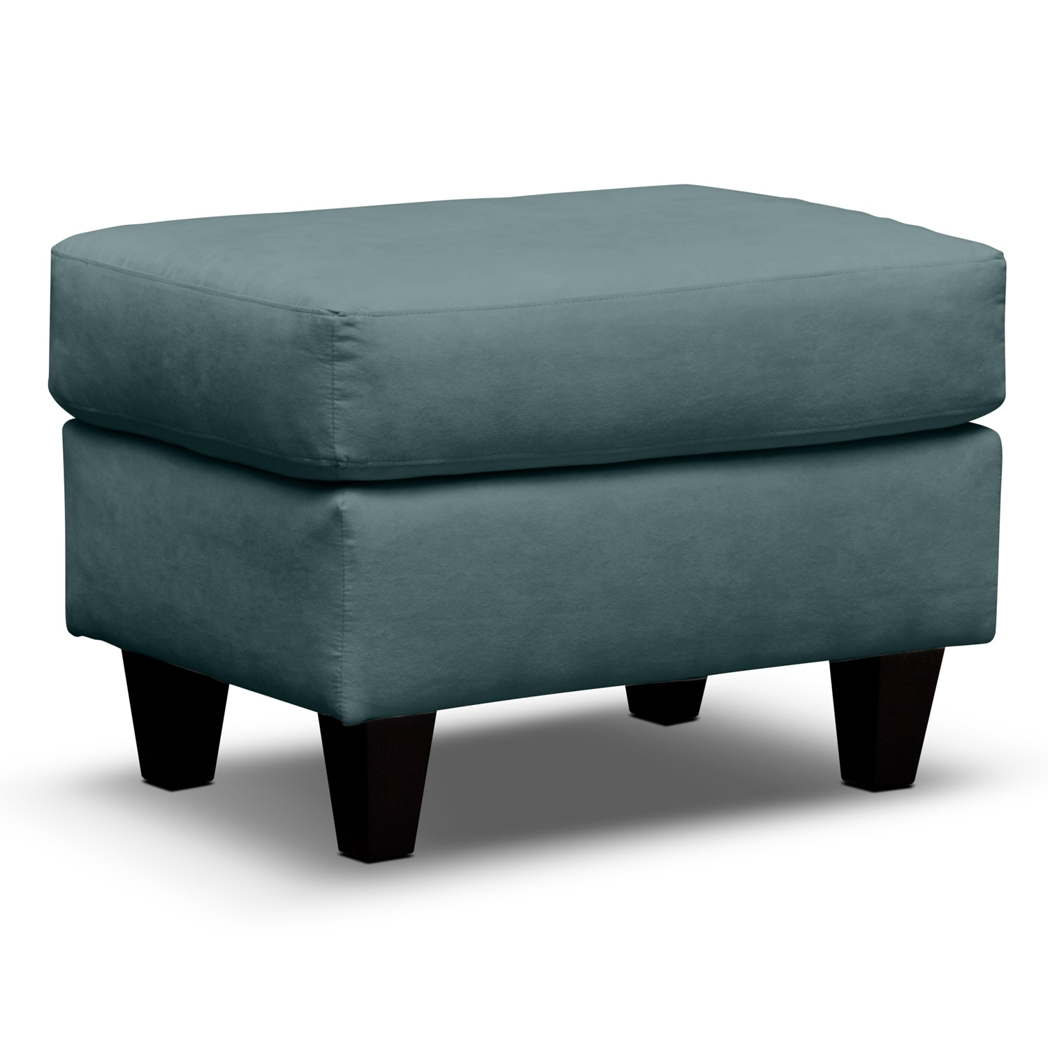 Living Room Furniture - West Village Blue Ottoman
