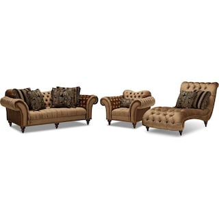 Brittney Sofa, Chair and Chaise Set - Bronze