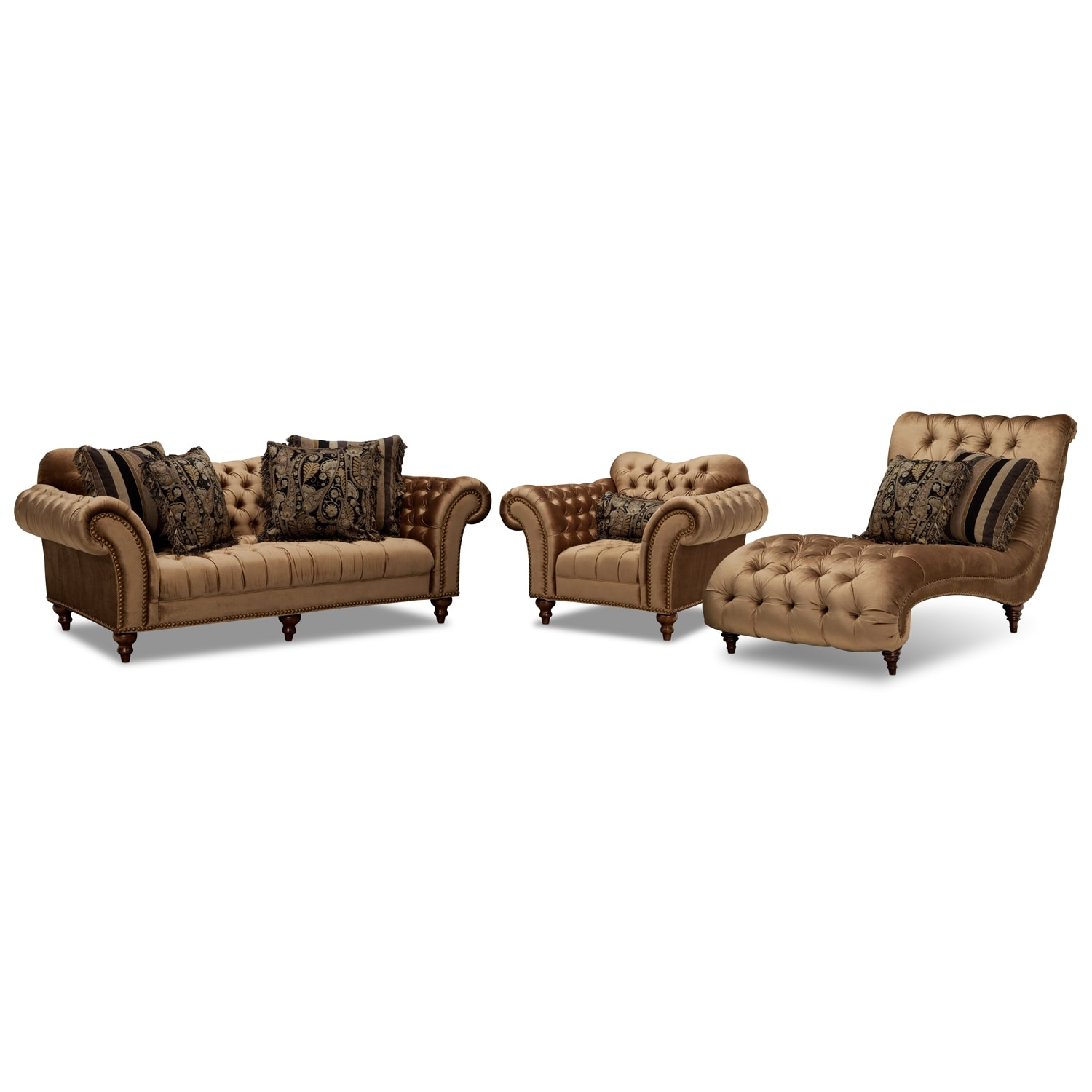 Awesome $3,299.97 Brittney Sofa, Chair And Chaise Set   Bronze