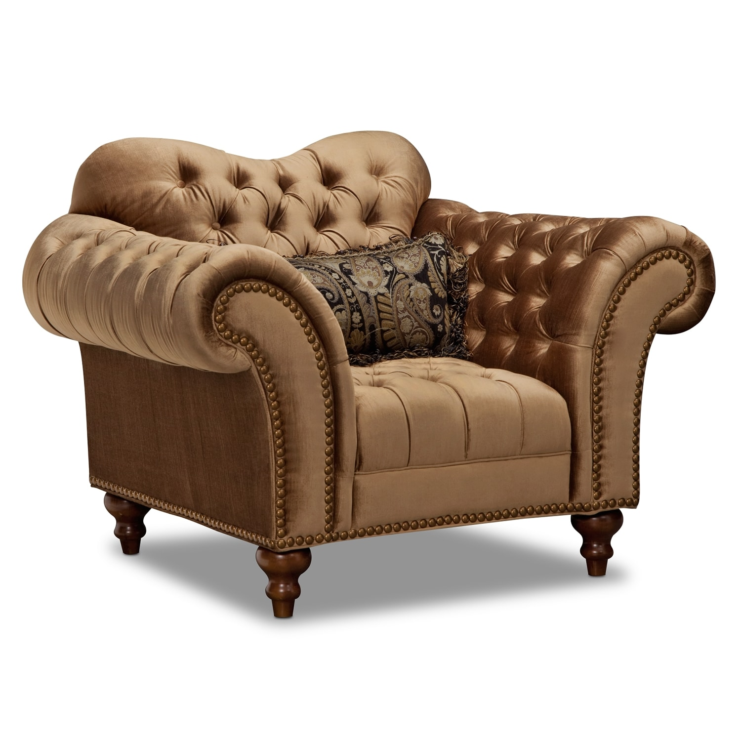 Brittney Sofa Chaise and Chair Set Bronze