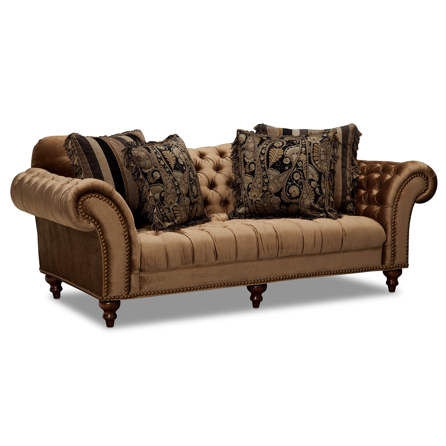 Brittney Sofa and Chaise Set Bronze