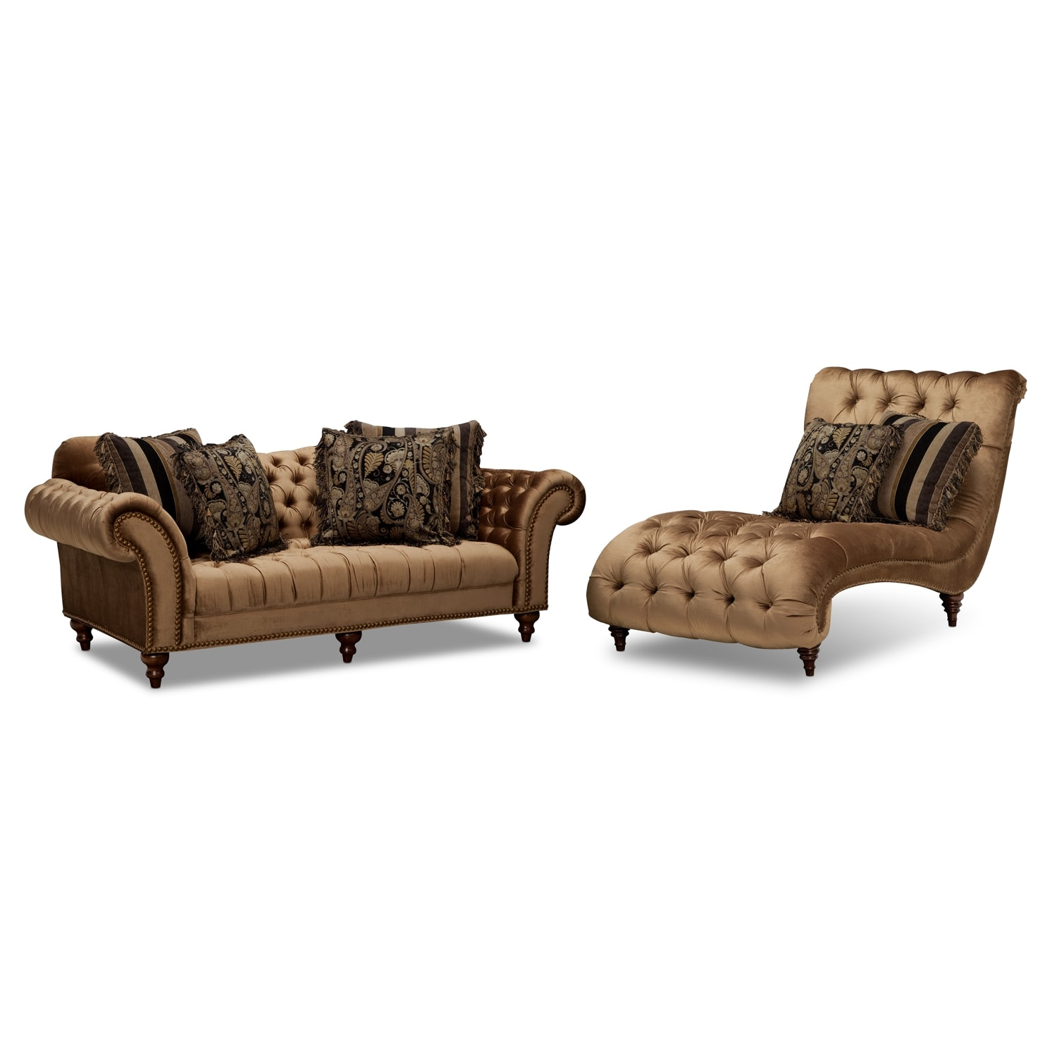 Brittney sofa and chaise set bronze american signature for Chaise and sofa