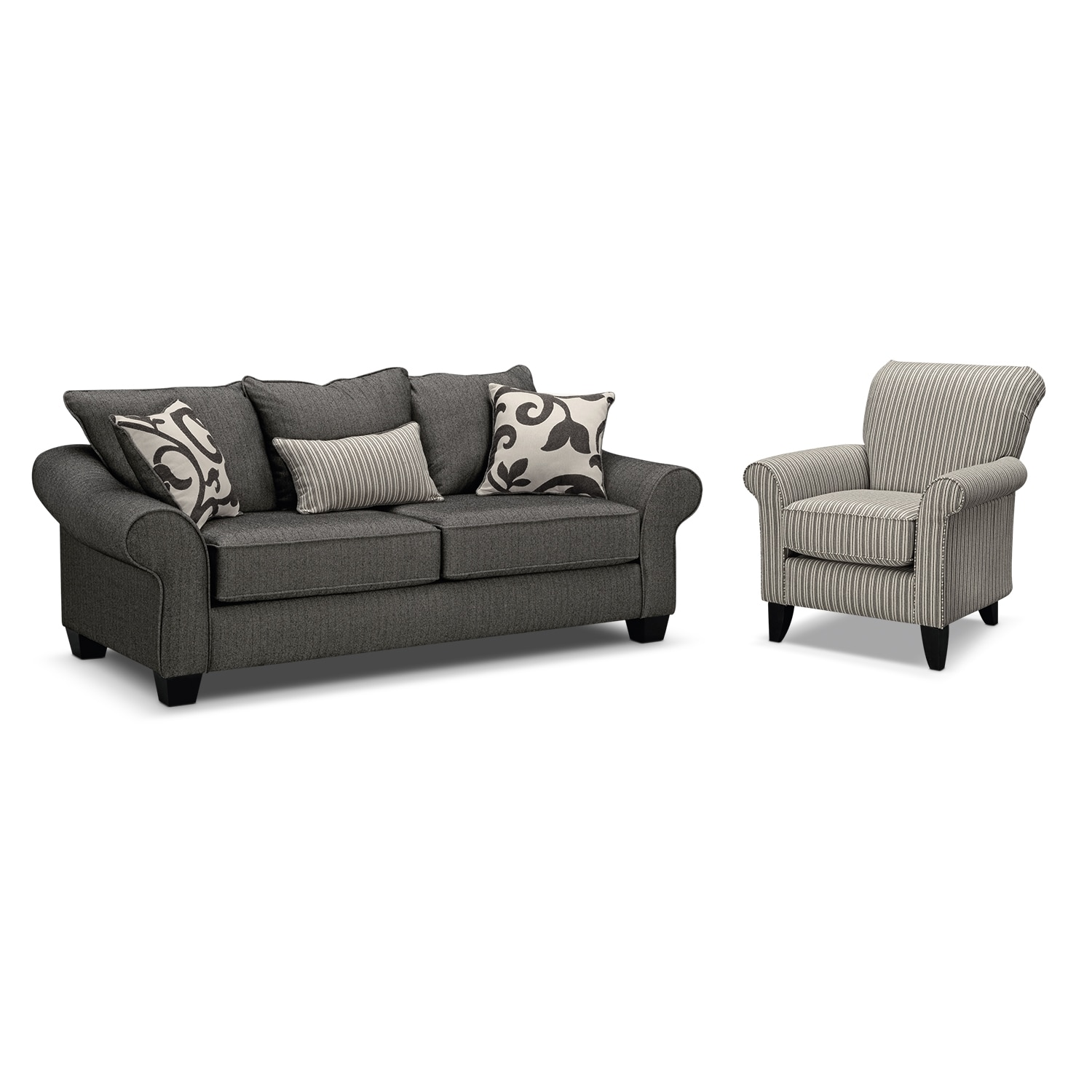 Living Room Furniture - Colette Full Innerspring Sleeper Sofa and Accent Chair Set - Gray