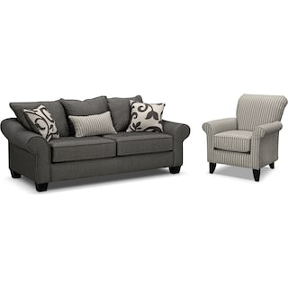 Colette Full Innerspring Sleeper Sofa and Accent Chair Set - Gray