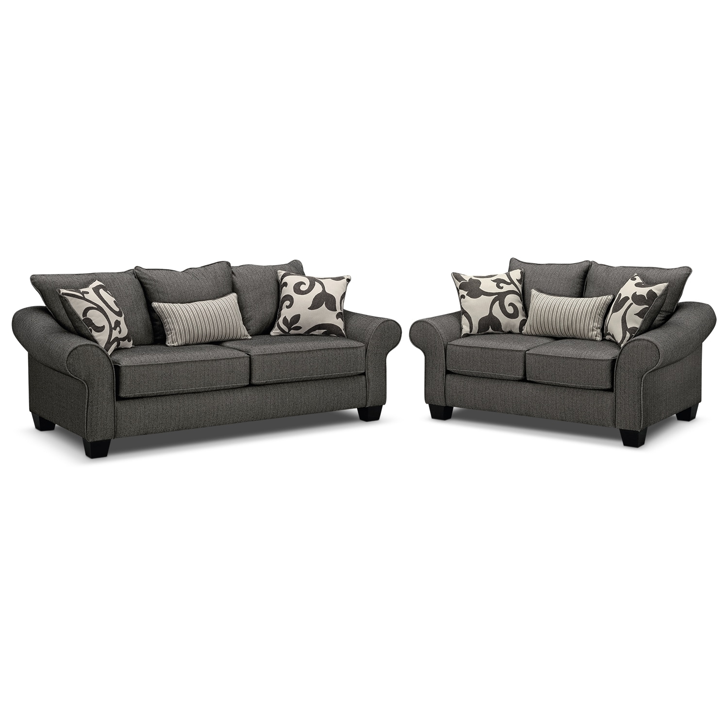 Living Room Furniture - Colette Gray 2 Pc. Sleeper Living Room with Memory Foam Mattress