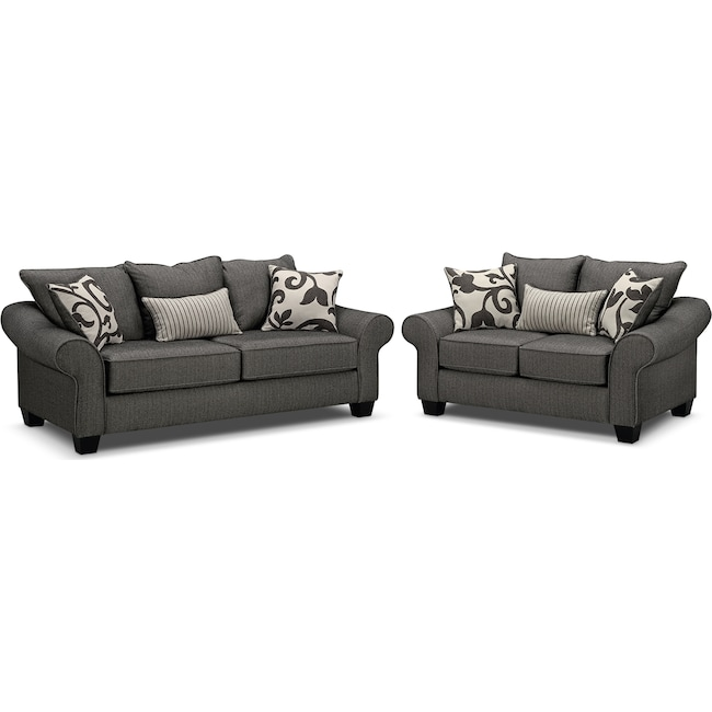 Living Room Furniture - Colette Sofa and Loveseat Set - Gray