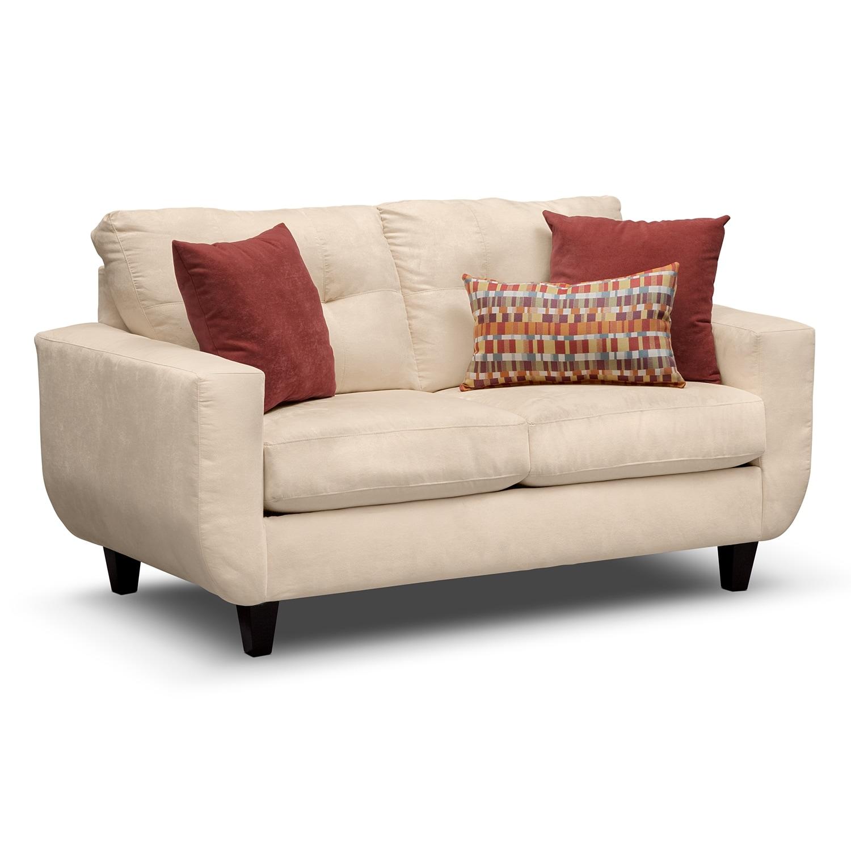 Living Room Furniture - West Village Loveseat - Cream