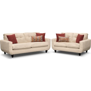 West Village Sofa and Loveseat - Cream