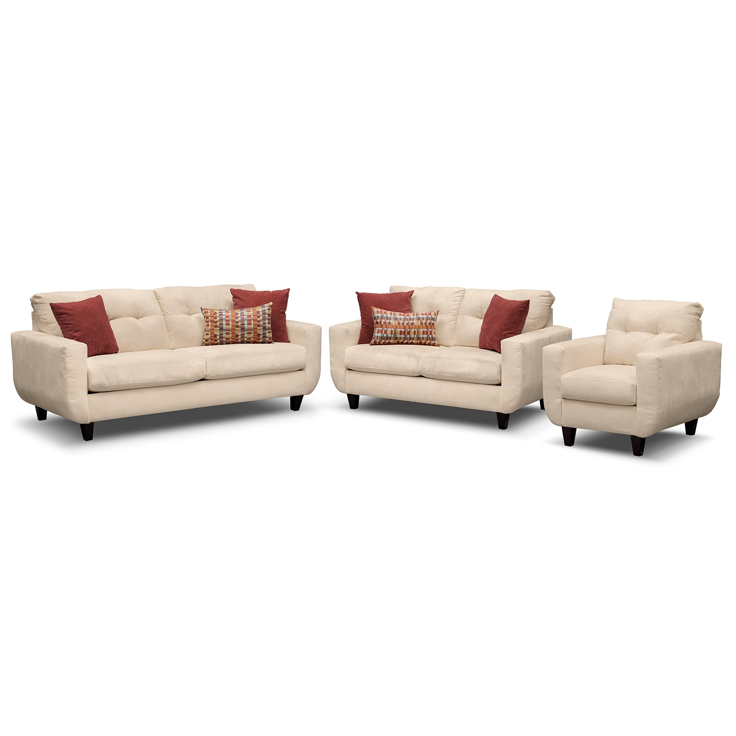 Living Room Furniture - West Village Sofa, Loveseat and Chair - Cream