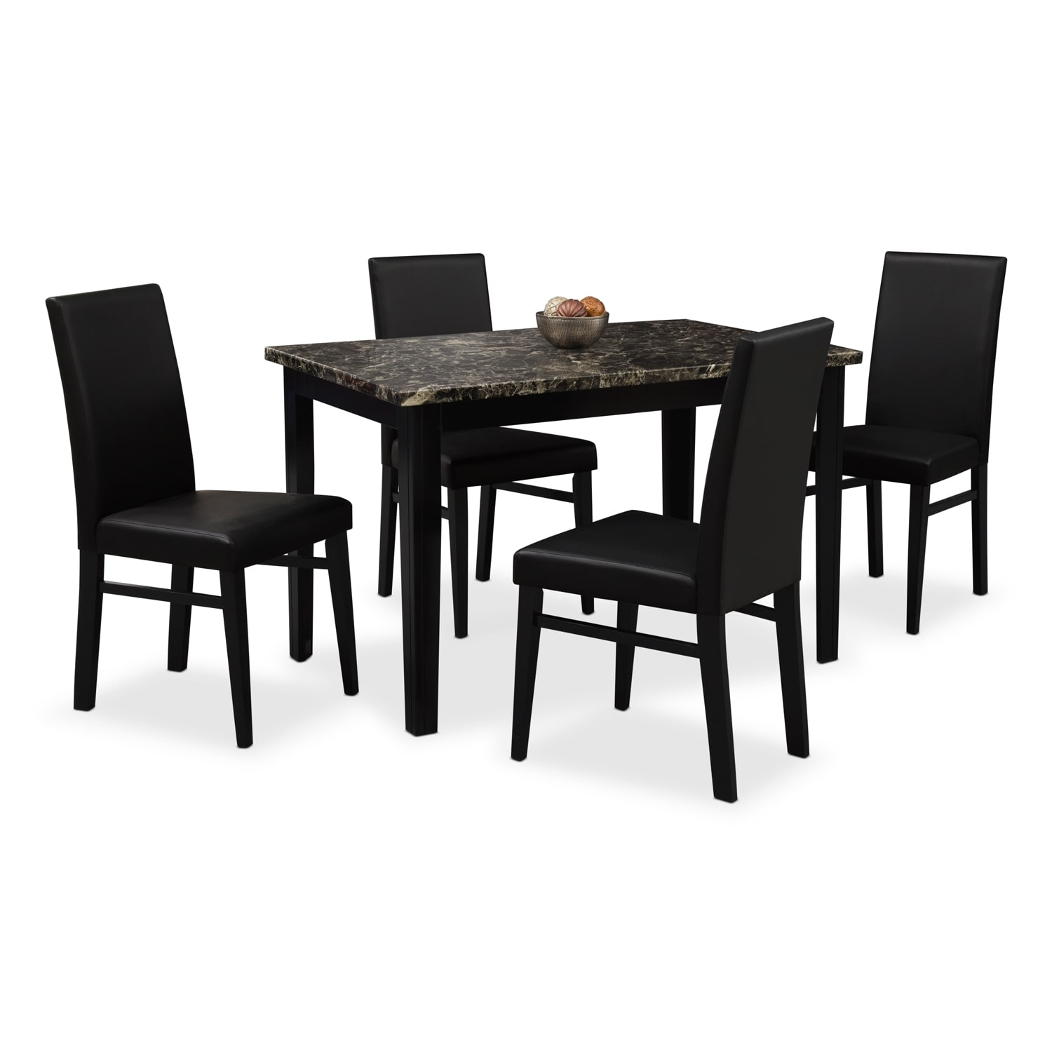 Shadow Table And 4 Chairs Black American Signature Furniture