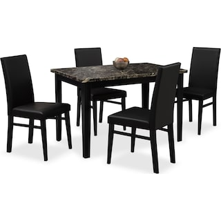 Shadow Table and 4 Chairs - Black