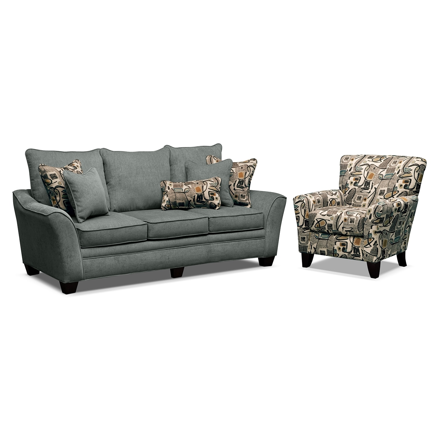 Living Room Furniture - Mandalay II 2 Pc. Sofa with Accent Chair