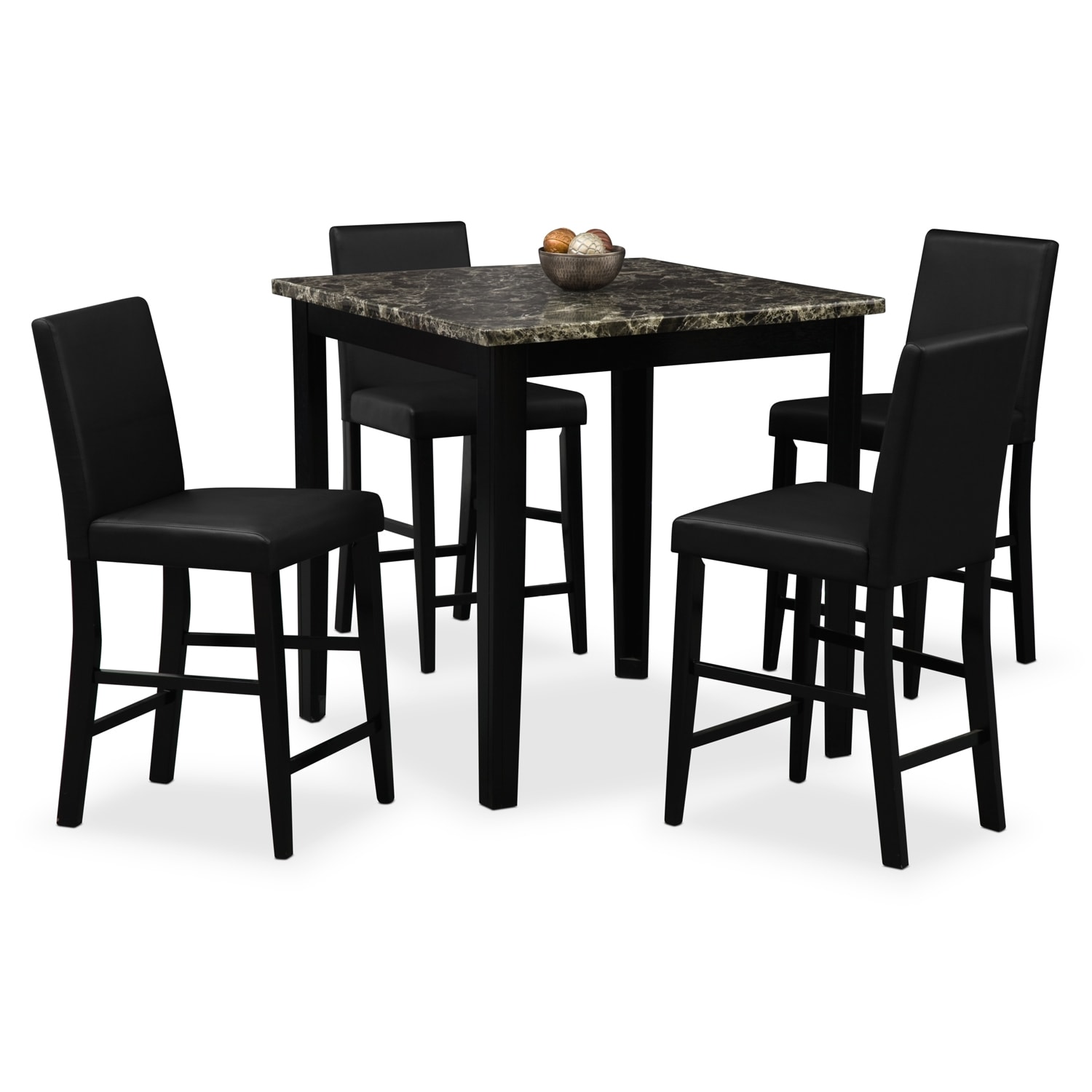 Dining room furniture shadow counter height table and 4 chairs black