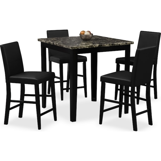 Shadow CounterHeight Table and 4 ChairsBlackAmerican