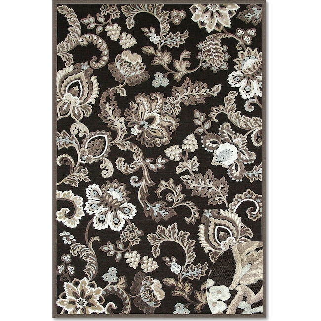 Rugs - Napa Floral 5'x 8' Area Rug - Dark Brown and Ivory