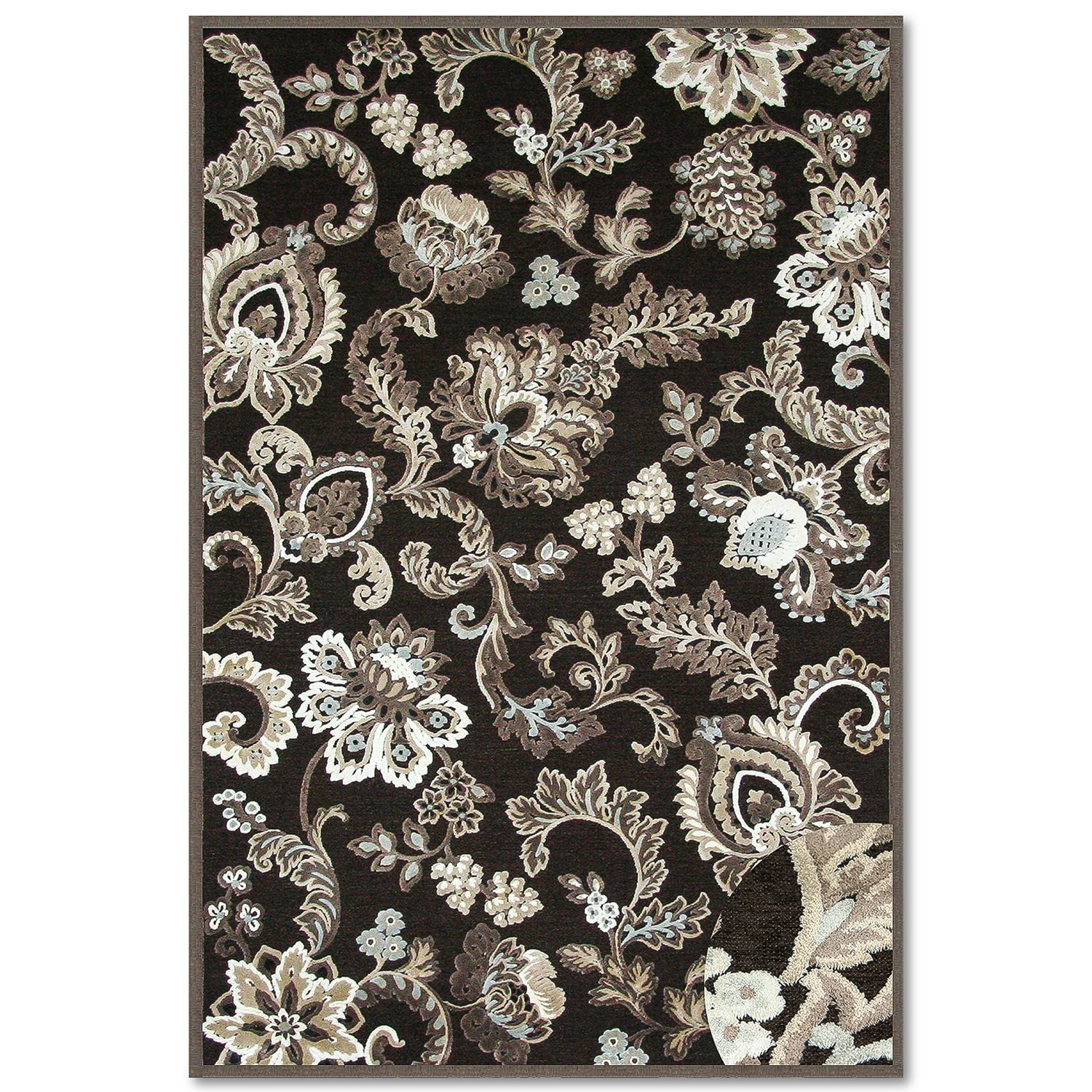 Napa Floral Area Rug Dark Brown And Ivory American
